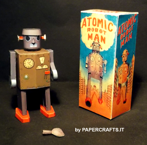 Tin Toy Atomic Robot Man Paper Model