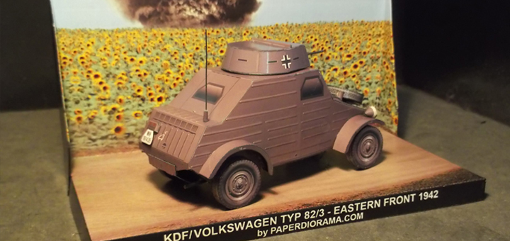 KdF/Volkswagen Typ 82/3: Mock-up armoured vehicle(dummy tank body for training purposes)/scout car with machine gun-fitted turret over the cabin - Paper model scale 1/35.