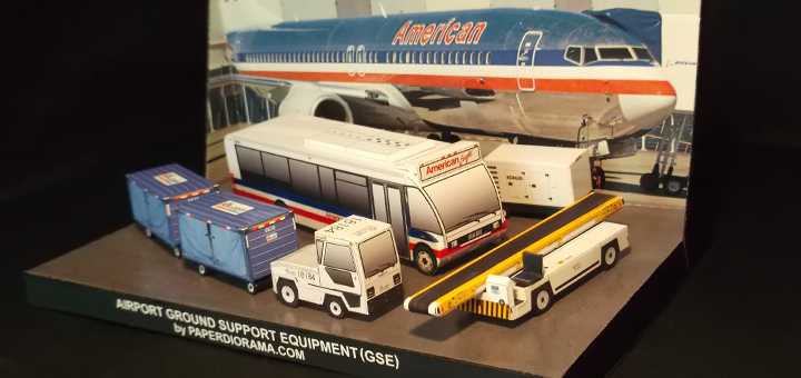 Airport Ground Support Equipment (GSE) by PAPERDIORAMA - 1:100 Scale