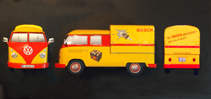 VW Bulli T1 Doka (DoppelKabine) 1965 Bosch Classic Vehicle - Paper Model 1/35  Scale