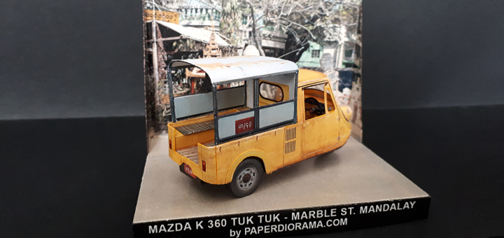 Papercraft imprimible y armable del coche Mazda K360. Manualidades a Raudales.